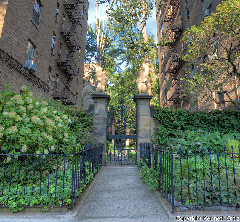 One of the beautiful entrances to the gardens of the Historic Towers Cooperative apartments in Jackson Heights, Queens New York.