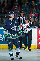 KELOWNA, CANADA - APRIL 25: Referee Fraser Lawrence calls a goal for the Kelowna Rockets against the Seattle Thunderbirds after a goal is reviewed on April 25, 2017 at Prospera Place in Kelowna, British Columbia, Canada.  (Photo by Marissa Baecker/Shoot the Breeze)  *** Local Caption ***