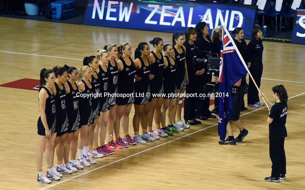 NZ Team lineup. New World Netball Series, Constellation Cup Test Four, New Zealand Silver Ferns v Australian Diamonds at The Trusts Arena, Auckland, New Zealand. Wednesday 15 October 2014. Photo: Andrew Cornaga/www.Photosport.co.nz