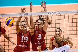 27-08-2017 NED: World Qualifications Greece - Belgium, Rotterdam<br /> Belgi&euml; verslaat Griekenland met 3-0 / Nathalie Lemmens #19 of Belgium, Britt Herbots #3