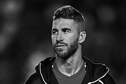 September 11, 2018 - Elche, Alicante, Spain - (EDITORS NOTE: the image has been converted to black and white) Sergio Ramos of Spain looks on prior to the UEFA Nations League A group four match between Spain and Croatia at Manuel Martinez Valero on September 11, 2018 in Elche, Spain  (Credit Image: © David Aliaga/NurPhoto/ZUMA Press)