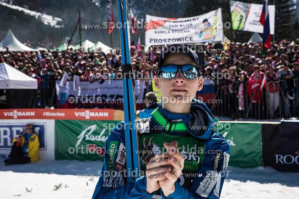 Domen Prevec (SLO) celebrates trophy ceremony the 2nd round of the Ski Flying Hill Individual Competition at Day 4 of FIS Ski Jumping World Cup Final 2019, on March 24, 2019 in Planica, Slovenia. Photo Peter Podobnik / Sportida