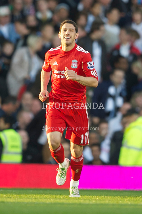 LONDON, ENGLAND - Monday, May 9, 2011: Liverpool's Maximiliano Ruben Maxi Rodriguez celebrates scoring the first goal against Fulham during the Premiership match at Craven Cottage. (Photo by David Rawcliffe/Propaganda)