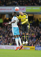 Moussa Sissoko is beaten by Adlene Guedioura during the The FA Cup Third Round match between Watford and Newcastle United at Vicarage Road, Watford, England on 9 January 2016. Photo by Dave Peters.