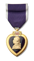 purple heart heart-shaped medal within a gold border