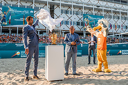 15-07-2018 NED: CEV DELA Beach Volleyball European Championship day 1<br /> Opening van het DELA EK Beach Volleybal 2018 / Reinder Nummerdor, Maris Pekalis
