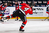 KELOWNA, BC - SEPTEMBER 28:  Devin Steffler #4 of the Kelowna Rockets warms up with a shot on net against the Everett Silvertips  at Prospera Place on September 28, 2019 in Kelowna, Canada. (Photo by Marissa Baecker/Shoot the Breeze)