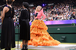 © Licensed to London News Pictures. 19/05/2019. London, UK. Singer Paloma Faith performs at the Wimbledon No. 1 Court Celebration event.  At a cost of £70 million, the redevelopment also includes extended seating for 1000 spectators. Photo credit: Ray Tang/LNP
