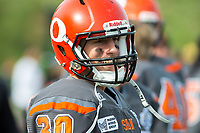KELOWNA, BC - OCTOBER 6: Sam Henneberry #30 of Okanagan Sun stands on the sidelines against the VI Raiders at the Apple Bowl on October 6, 2019 in Kelowna, Canada. (Photo by Marissa Baecker/Shoot the Breeze)