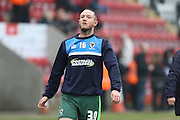 Rhys Murphy of AFC Wimbledon is on loan from Oldham Athletic makes his debut during the Sky Bet League 2 match between Morecambe and AFC Wimbledon at the Globe Arena, Morecambe, England on 12 March 2016. Photo by Stuart Butcher.