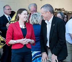 Scottish Lib Dem leader Willie Rennie and East Dumbartonshire candidate Jo Swinson on the campaign trail in Crossveggate.<br /> <br /> &copy; Dave Johnston/ EEm