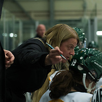 Regina Cougars head coach, Sarah Hodges (20th Season) in action during the Women's Hockey Home Opener on October 7 at Co-operators arena. Credit: Arthur Ward/Arthur Images