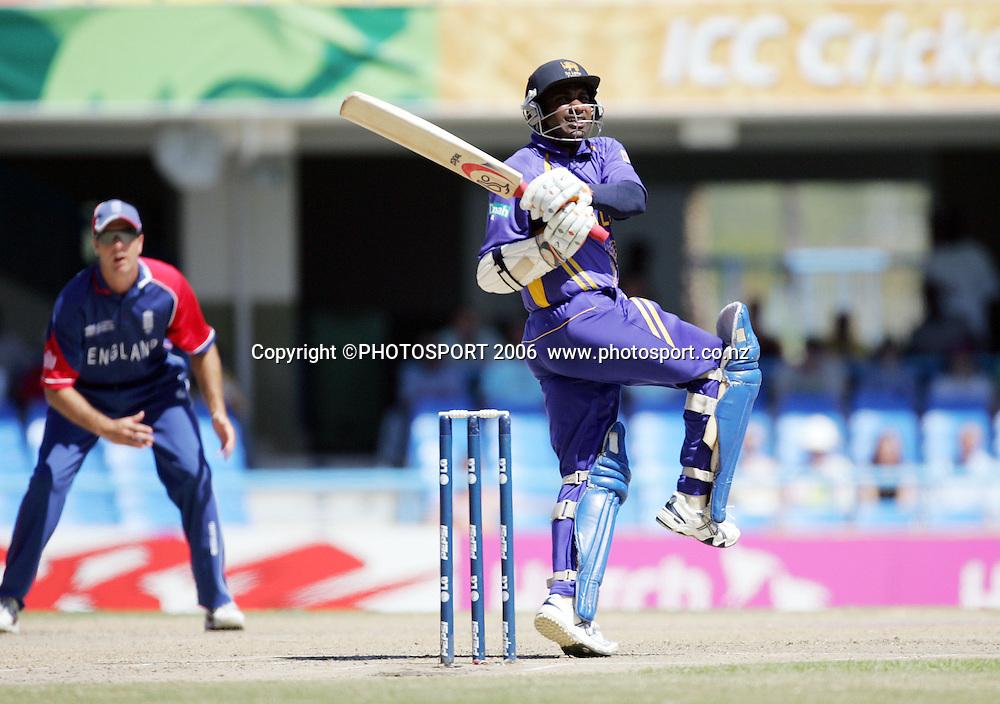 Sri Lankan batsman Sanath Jayasuriya hooks during the Super 8 Cricket World Cup match, England v Sri Lanka at the Sir Vivian Richards Cricket Ground in Antigua, West Indies on Wednesday 4 April 2007. Photo: Andrew Cornaga/PHOTOSPORT **NO AGENTS**<br /><br /><br />040407