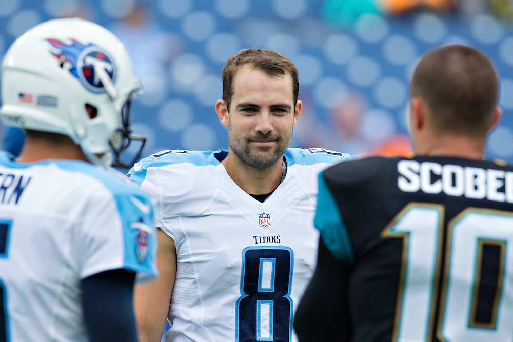 NASHVILLE, TN - OCTOBER 12:  Ryan Succop #8 of the Tennessee Titans talks with teammate Brett Kern #6 and Josh Scobee #10 of the Jacksonville Jaguars at LP Field on October 12, 2014 in Nashville, Tennessee.  The Titans defeated the Jaguars 16-14.  (Photo by Wesley Hitt/Getty Images) *** Local Caption *** Ryan Succop; Brett Kern; Josh Scobee