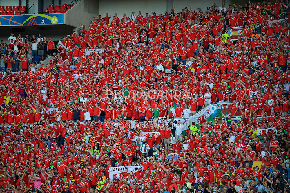 LYON, FRANCE - Wednesday, July 6, 2016: Wales supporters before the UEFA Euro 2016 Championship Semi-Final match against Portugal at the Stade de Lyon. (Pic by David Rawcliffe/Propaganda)