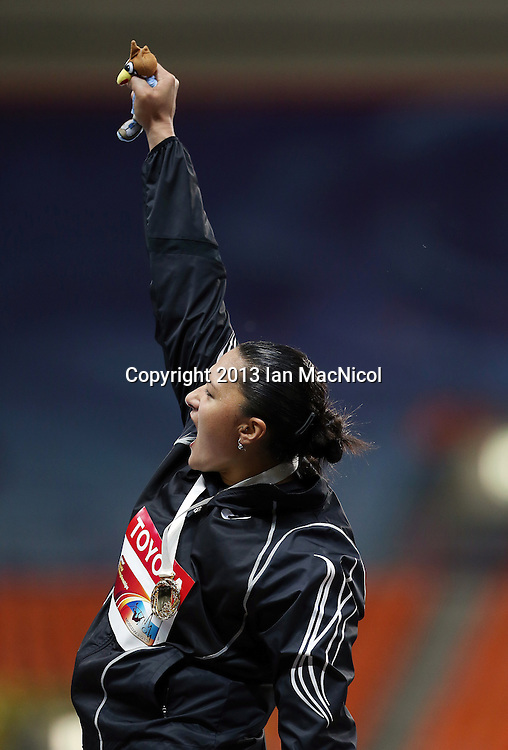 MOSCOW, RUSSIA - AUGUST 12:  Valerie Adams of New Zealand posses with her Gold medal from the Women's shot Put during Day Three of the 14th IAAF World Athletics Championships Moscow 2013 at Luzhniki Stadium on August 12, 2013 in Moscow, Russia. (Photo by Ian MacNicol)