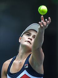 WUHAN, Sept. 27, 2018  Ashleigh Barty of Australia serves during singles quarterfinal match against Anastasia Pavlyuchenkova of Russia at the 2018 WTA Wuhan Open tennis tournament in Wuhan, central China's Hubei Province, on Sept. 27, 2018. Ashleigh Barty won 2-1. (Credit Image: © Xue Yubin/Xinhua via ZUMA Wire)