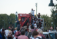 CAPE TOWN, SOUTH AFRICA - Thursday 9 April 2015, a robust farewell as the statue rides off the campus on the back of a truck during the removal of the statue of CECIL JOHN RHODES at the University of Cape Town. Rhodes (5 July 1853 &ndash; 26 March 1902) was a British businessman, mining magnate, and politician in South Africa. An ardent believer in British colonialism, Rhodes was the founder of the southern African territory of Rhodesia, which was named after him in 1895. South Africa's Rhodes University is also named after Rhodes. He set up the provisions of the Rhodes Scholarship, which is funded by his estate. <br /> Photo by Roger Sedres/ ImageSA