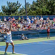 August 22, 2016, New Haven, Connecticut: <br /> Camila Giorgi of Italy in action during a match on Day 4 of the 2016 Connecticut Open at the Yale University Tennis Center on Monday August  22, 2016 in New Haven, Connecticut. <br /> (Photo by Billie Weiss/Connecticut Open)