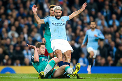 Sergio Aguero of Manchester City is tackled by Jan Vertonghen of Tottenham Hotspur - Mandatory by-line: Robbie Stephenson/JMP - 17/04/2019 - FOOTBALL - Etihad Stadium - Manchester, England - Manchester City v Tottenham Hotspur - UEFA Champions League Quarter Final 2nd Leg