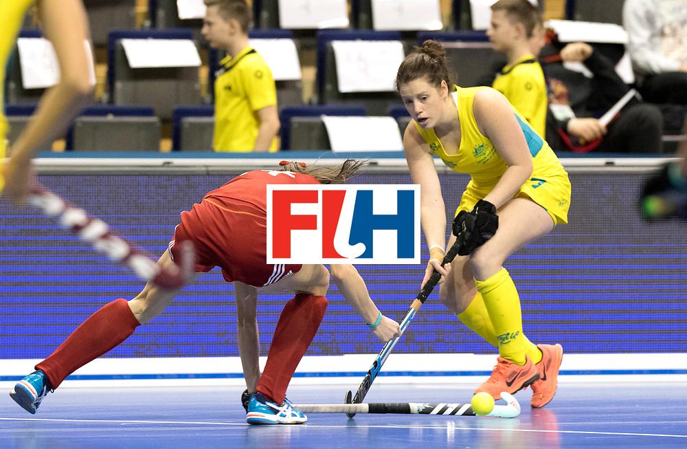 BERLIN - Indoor Hockey World Cup<br /> Quarterfinal 1: Belarus - Australia<br /> foto: BOUCHER Tegan.<br /> WORLDSPORTPICS COPYRIGHT FRANK UIJLENBROEK