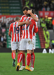 Stoke's Bojan Krkic celebrates with his team mates after scoring. - Photo mandatory by-line: Dougie Allward/JMP - Mobile: 07966 386802 - 06/12/2014 - SPORT - Football - Stoke - Britannia Stadium - Stoke City v Arsenal - Barclays Premie League
