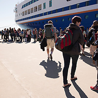 Students wait to board the MV Explorer on Embarkation day for the Semester at Sea Spring 2014 Voyage, January 10th 2014, in Ensenada, Mexico.