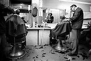 Neville in Barbers, High Wycombe, UK, 1980s.