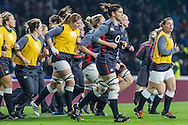 Red Roses Captain Sarah Hunter leads the team out for warm up, England v Argentina in an Old Mutual Wealth Series, Autumn International match at Twickenham Stadium, London, England, on 26th November 2016. Full Time score 27-14