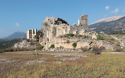 Ruins of the Ottoman castle, residence of Ali Agha, governor of the region during the 19th century, in Tlos, a Lycian city in the Xanthos valley, Antalya, Turkey. Tlos was a major Lycian city from the 5th century BC, joining the Lycian Federation in the 2nd century BC. It was settled by the Greeks, Romans, Byzantines and finally the Ottoman Turks. Tlos has an agora, rock tombs and sarcophagi, a stadium, an acropolis, public bath, church and theatre. Picture by Manuel Cohen