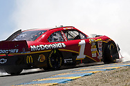 SONOMA, CA - June 20, 2010:  Jamie McMurray wrecks off turn three for the Toyota/Save Mart 350 race at Infineon Raceway in Sonoma, CA.