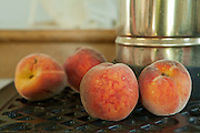 Peaches in a summer cottage, Little Compton, Rhode Island.