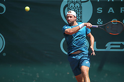 April 11, 2018 - Houston, TX, U.S. - HOUSTON, TX - APRIL 11: Tennys Sandgren (USA) hits a forehand during the second round of the US Men's Clay Court Championship on April 11, 2018 at River Oaks Country Club in Houston, Texas. (Photo by George Walker/Icon Sportswire) (Credit Image: © George Walker/Icon SMI via ZUMA Press)