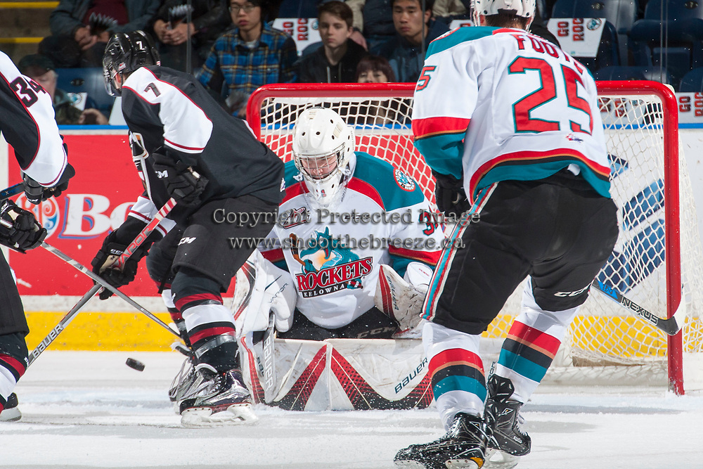 KELOWNA, CANADA - MARCH 10: Brodan Salmond #31 of the Kelowna Rockets makes a save against the Vancouver Giants on March 10, 2017 at Prospera Place in Kelowna, British Columbia, Canada.  (Photo by Marissa Baecker/Shoot the Breeze)  *** Local Caption ***