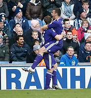 Photo: Steve Bond/Richard Lane Photography. West Bromwich Albion v Newcastle United. Barclays Premiership. 07/02/2009. Steven Taylor (R) celebrates his header