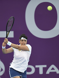 DOHA, Feb. 12, 2018  Ons Jabeur of Tunisia hits a return during the single's first round match against Duan Yingying of China at the 2018 WTA Qatar Open in Doha, Qatar, on Feb. 12, 2018. Duan Yingying won 2-0. (Credit Image: © Nikku/Xinhua via ZUMA Wire)