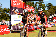 Oak Valley ( Elgin / Grabouw ), SOUTH AFRICA - Max Knox and Brandon Stewart celebrate second place during the final stage stage seven , 7 , of the Absa Cape Epic Mountain Bike Stage Race between Oak Valley ( Elgin / Grabouw ) and Lourensford on the 28 March 2009 in the Western Cape, South Africa..Photo by Karin Schermbrucker  /SPORTZPICS