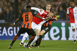 (L-R), Fred of FC Shakhtar Donesk, Nicolai Jorgensen of Feyenoord, Bohdan Butko of FC Shakhtar Donesk during the UEFA Champions League group F match between Feyenoord Rotterdam and Shakhtar Donetsk at the Kuip on October 17, 2017 in Rotterdam, The Netherlands