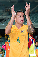 March 28 2017: Socceroos Tim CAHILL (4) thanks the crowd at the 2018 FIFA World Cup Qualification match, between The Socceroos and UAE played at Allianz Stadium in Sydney.