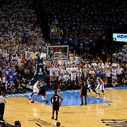 Jun 14, 2012; Oklahoma City, OK, USA;  Miami Heat small forward LeBron James (6) shoots a free throw with 7.1 seconds left in  the fourth quarter of game two in the 2012 NBA Finals against the Oklahoma City Thunder at Chesapeake Energy Arena. Miami won 100-96. Mandatory Credit: Derick E. Hingle-US PRESSWIRE