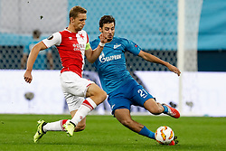 October 4, 2018 - Saint Petersburg, Russia - Aleksandr Erokhin (R) of FC Zenit Saint Petersburg and Tomas Soucek of SK Slavia Prague vie for the ball during the Group C match of the UEFA Europa League between FC Zenit Saint Petersburg and SK Slavia Prague at Saint Petersburg Stadium on October 4, 2018 in Saint Petersburg, Russia. (Credit Image: © Mike Kireev/NurPhoto/ZUMA Press)