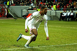 KAZAN, RUSSIA - Thursday, November 5, 2015: Liverpool's Jordon Ibe celebrates scoring the winning goal against Rubin Kazan to seal a 1-0 victory during the UEFA Europa League Group Stage Group B match at the Kazan Arena. (Pic by Oleg Nikishin/Propaganda)