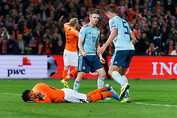 10-10-2019 NED: Netherlands - Northern Ireland, Rotterdam<br /> UEFA Qualifying round ­Group C match between Netherlands and Northern Ireland at De Kuip in Rotterdam / Shane Ferguson #11 of Northern Ireland, Donyell Malen #20 of the Netherlands