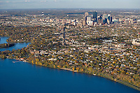 Aerial view of Minneapolis from Lake Calhoun in October '07.