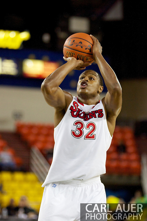 November 26th, 2010:  Anchorage, Alaska - St. John's senior forward Justin Brownlee (32) at the free throw line in the Red Storm's semi final game of the Great Alaska Shootout against the Drake Bulldogs.  The Red Storm defense held Drake to a tournament low score as St. Johns advanced to the final game 82-39.