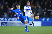 Matty Done rides a challenge during the EFL Sky Bet League 1 match between Peterborough United and Rochdale at London Road, Peterborough, England on 12 January 2019.