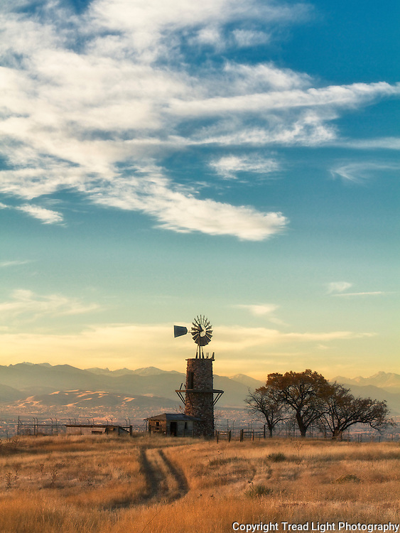 Homestead windmill on the Phillip Highland Ranch hidden within a suburban sea, Highlands Ranch, CO.