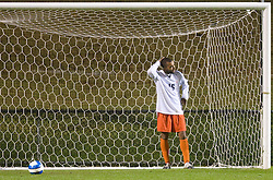 Virginia Cavaliers MF/D Zola Short (15) scratches his head after Duke scored a game winning goal in the second overtime.  The #10 ranked Virginia Cavaliers fell to the #24 Duke Blue Devils 2-1 in 2OT at Klockner Stadium in Charlottesville, VA on October 26, 2007.