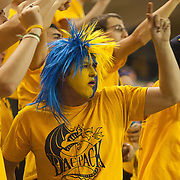 12/03/11 Newark DE: Jubilant Drexel fans in the student section of a Colonial Athletic Association basketball game, Saturday, Dec. 03, 2011 at the Bob carpenter center in Newark Delaware...Sophomore Guard #10 Devon Saddler would finish the game with 30 total points, Delaware defeat Drexel 71-60.