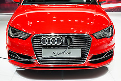 Detail of electric plug in Audi A3 e-tron car at Tokyo Motor Show 2013 in Japan